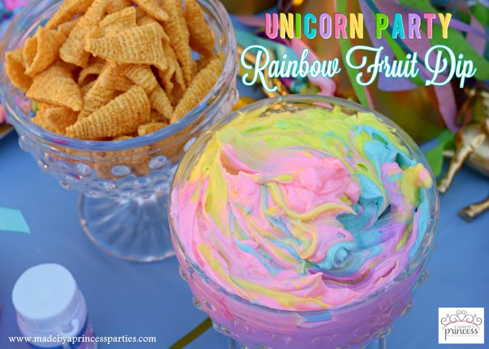 Unicorn Party Rainbow Marshmallow Cream Cheese Fruit Dip Recipe